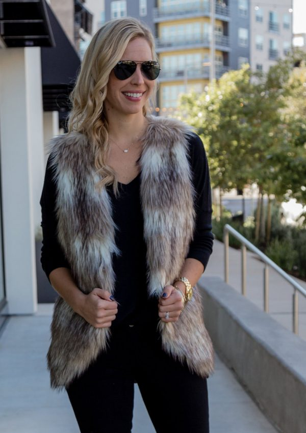 How to Style A Faux Fur Vest