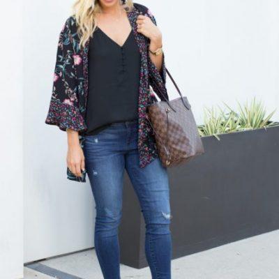 Black Floral Kimono – 2 Ways to Style It