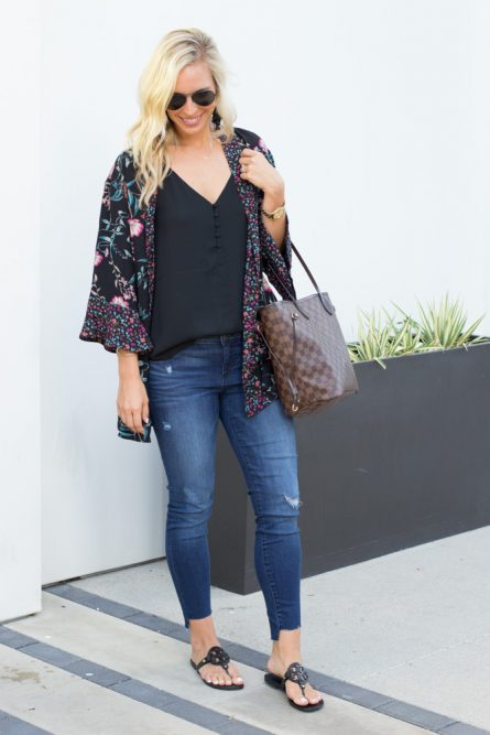 Black Floral Kimono – 2 Ways to Style It